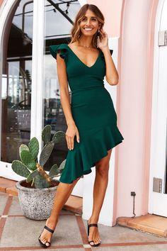 In Deep Midi Dress Forest Green – Women's Fashion Green Summer Dresses, Emerald Green Dresses, Green Midi Dress, Fall Dresses, Short Dresses, Formal Dresses, Green Cocktail Dress, Women's Dresses, Wrap Dress