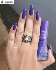 #Repost @iaraanails • • • • • Bom diaa!💜 . ▫Esmalt Nail Polish Style, Nail Polish Colors, Hair And Nails, My Nails, Nail Care Tips, Artificial Nails, Purple Nails, Nail Inspo, Nail Arts