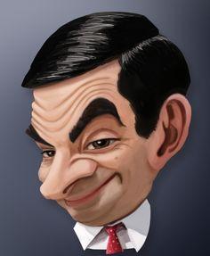 Mr Bean Movie, Mr Bean Funny, Celebrity Caricatures, Funny Me, Celebrities, Movies, Movie Posters, Paintings, Drawings