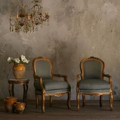 Vintage chairs with gorgeous french blue upholstry