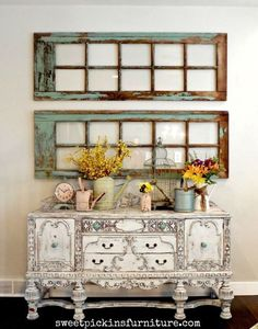 Anonymous said to magicalhome:How to decorate an antique sideboardSideboards are such versatile pieces. Although they were originally meant for dining rooms, they can be used anywhere, now. You can make them as simple or as elaborate as you like. They're great for holding special collections, favorite accessories, or fresh flowers. And, I love when they're painted!Above, are some wonderful examples.