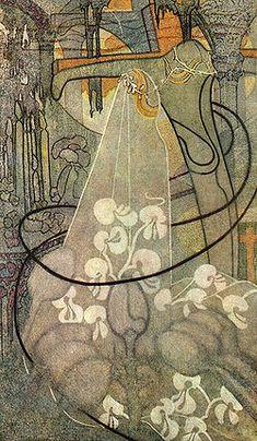 Jugendstil painting 'The Bride' by Dutch artist Johan Thorn Prikker, 1893.