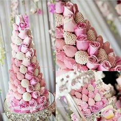 Strawberry and Rose Tower (Reception Dessert Table) Chocolate Tree, Chocolate Bouquet, Chocolate Dipped, Strawberry Tower, Strawberry Delight, Cupcakes, Cupcake Cookies, Candy Table, Dessert Table