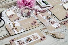 online selbst gestalten: Kraftpapier Hochzeitseinladung mit Aquarellblumen - Blythe un Jannick ❤ individuelle Gestaltungsmöglichkeiten ❤ TOP - Qualität