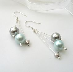 Pearl Dangle Earrings Turquoise and Silver Shell by adiencrafts, $15.00