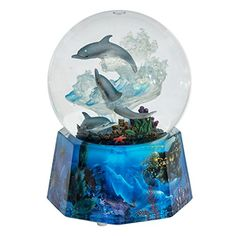 """MusicBox Kingdom Dolphin Glitter Globe Music Box Playing """"Over The Waves"""""""