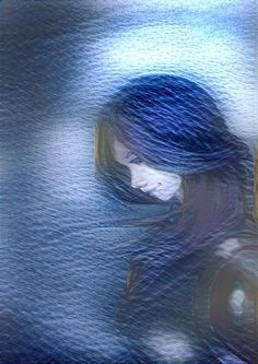 An illustration of Anne that was deep styled using a water surface image as a filter.