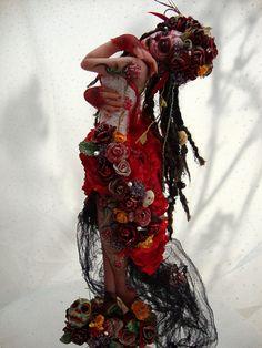 "Day of the Dead ~Red Beauty Art Doll by Vicci Noel   8"" Cernit Sculpture  http://www.ebay.com/itm/120862444466?ssPageName=STRK:MESELX:IT&_trksid=p3984.m1555.l2649"