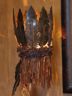 Hand Forged Iron Feather Lamps