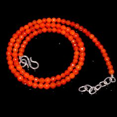 """33CRTS 3.5to4.2MM 17.5"""" ETHIOPIAN OPAL ORANGE ROUND FACETED BEADS NECKLACE 3909 #OPALBEADSINDIA"""