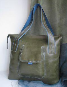 Olive Green Leather Bag Large Handbag Everyday Bag by VESTANY