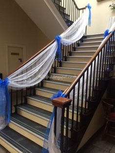 Stair rail decoration you could even add colors lights and delight your wedding guests with luxurious fabrics warm lighting and a beautiful atmosphere with professional junglespirit Images