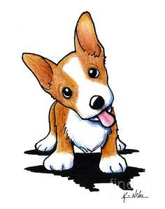 Curious Corgi puppy fine art print by KiniArt artist, Kim Niles. © KiniArt™ - All Rights Reserved.