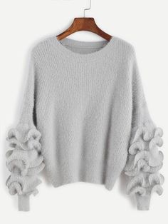 Grey Ruffle Trim Drop Shoulder Sweater