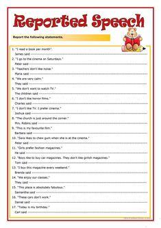 Reported Speech worksheet - Free ESL printable worksheets made by teachers English Grammar Tenses, Grammar Book, English Teaching Materials, Teaching English, English Lessons, Learn English, English Study, English Class, Speech Rules