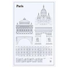 Limited Edition! Paris Elevations poster från Studio Esinam. En vacker och enkel poster som avbildar Paris fem vackraste och mest kända byggnader: Sacré-Cœur, Palais Garnier, Triumfbågen, Pont Marie och Centre Georges Pompidou. Kan du inte komma till Paris, kan nu Paris komma hem till dig!   Motivet är tryckt på ett miljövänligt och syrafritt briljant vitt papper - Conqueror Texture Laid 160 g.