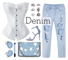 """Denim & White"" by atomic-jane ❤ liked on Polyvore featuring STELLA McCARTNEY, Topshop, shu uemura, white, denim and Blue"