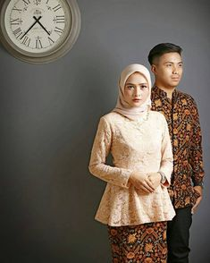 Pre Wedding Poses, Wedding Couple Poses, Pre Wedding Photoshoot, Contoh Model Kebaya Modern, Baju Couple Muslim, Kebaya Modern Hijab, Prewedding Hijab, Batik Couple, Indonesian Wedding