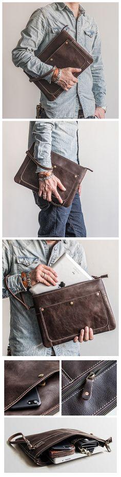 Handmade Leather Clutch iPad Case Envelope Bag Men's Handbag - Men's style, accessories, mens fashion trends 2020 Leather Gifts, Leather Bags Handmade, Leather Clutch, Leather Handbags, Handbags For Men, Travel Clothes Women, Popular Bags, Vintage Bags, Casual Bags