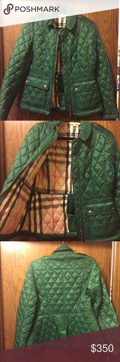 Burberry Brit Quilted Jacket Authentic Burberry Brit jacket in green. Jacket includes full zipper in the front and two front button pockets. Gently worn but has stain on inside (see picture). Burberry Jackets & Coats Puffers