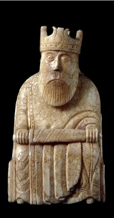 King from the Lewis Chessmen at the British Museum. Probably made in Norway, about AD Found on the Isle of Lewis, Outer Hebrides, Scotland. Medieval Games, Medieval Art, Medieval Life, Chess Pieces, Game Pieces, British Museum, Collections D'objets, Kings Game, Viking Art