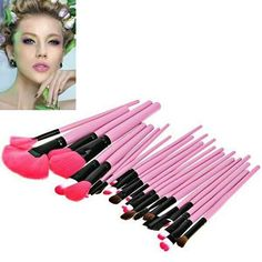 """Fashion 24PCS Pink Soft Nylon Hair Make-up Brushes with Leather Bag. Colors: Pink. SKU: 0MUV0BQTG01 Price: US$30.63 |… #Vivoren #Fashion"