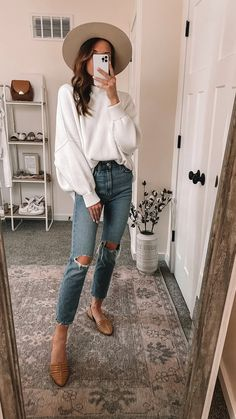 Simple Fall Outfits, Fall Fashion Outfits, Cute Casual Outfits, Autumn Fashion, Casual Chic Fashion, Fall Fashion Women, Hipster Outfits For Women, Casual Church Outfits, Women Fall Outfits