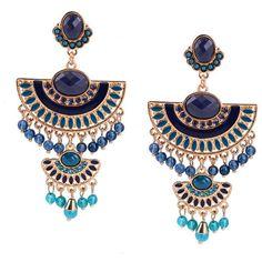 Blue Enamel Beads Earrings ($9.99) ❤ liked on Polyvore