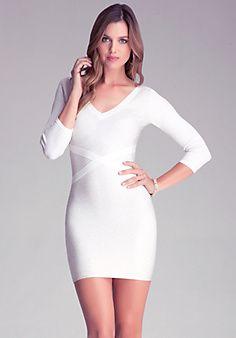 Sparkle Liquid V Neck Dress #BeBe #WhiteDress #VNeck