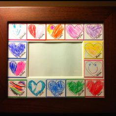For Valentine's Day gift for Pre-school teachers: 4x6 photo matted opening in an 8x10 frame. Print out heart shapes (size of hearts and placement depends on number of students) onto white card-stock and cut to size. Write each child's name on a heart. Give each child a heart to color however they want. Matte the hearts onto coordinating colored card stock. Include class picture.