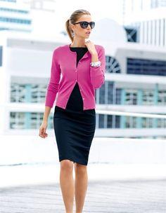 Cardigan aus Viskosestretch, Damen Sonnenbrille, Etuikleid, Breiter, glänzender Armreif