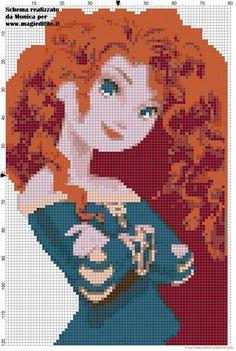 Schema punto croce Merida Ribelle the Brave - 1766x2627 - 1722248