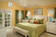 Medium yellow. To keep a yellow room from feeling too warm, add a cool complementary accent color, such as green.  Paint pick: Mellow Yell...