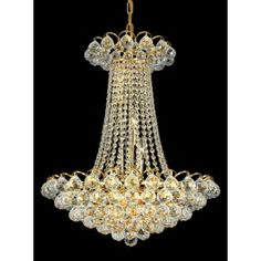 12 lights crystal chandelier in gold plated finish | Small Crystal ...