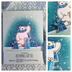 This card is a little bit of cool on a day expected to get to 44 Celcius F) . Polar Bear Christmas, Bear Card, Mft Stamps, Polar Bears, Winter Cards, Christmas Cards, Xmas, Card Tags, Scrapbook Cards