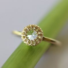 Moissanite Flower Ring in 14K Gold  by louisagallery