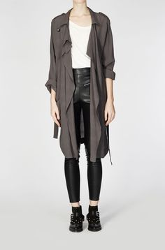 DEVOTED TRENCH COAT DARK GREY MARL
