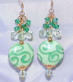 Appleliscious GREEN Scrolls VERMEIL Earrings St Patrick's Day