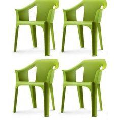 Garden-Chair-Outdoor-Indoor-Designer-Plastic-Green-Garden-Furniture-pack-of-4