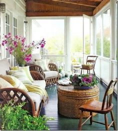 Pourch -- I like the french doors going out into the porch.
