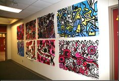 Very cool mural project inspired by Wassily Kandinsky. Line Art Projects, Group Art Projects, Collaborative Art Projects, School Art Projects, Kandinsky Art, 6th Grade Art, Third Grade, Ecole Art, Art Lessons Elementary