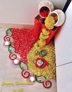 Diwali Decoration Lights, Diya Decoration Ideas, Diwali Decorations At Home, Stage Decorations, Flower Decorations, Wedding Decorations, Rangoli Designs Flower, Rangoli Designs Diwali, Flower Rangoli