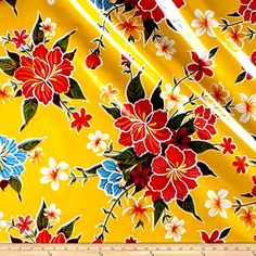 Hibiscus Fabric, Yellow Fabric By The Yard, Oilcloth Fabric, Heavy Weight Fabric #OilClothInternational