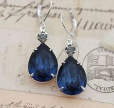 Vintage Earrings Montana Navy Blue Black Diamond Silver Clip On Available