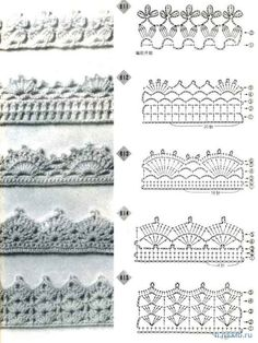Crochet Edges Pattern - an entire page of crocheted edgings and charts for making them. :-) 00handicrafts00.blogspot.com/2011/09/crochet-edges-pattern.html# ༺✿ƬⱤღ https://www.pinterest.com/teretegui/✿༻