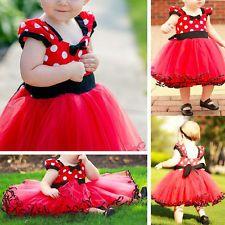 Xmas Girls Kids Red Minnie Mouse Baby Polka Dot Princess Tutu Dress Party Skirt
