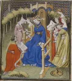 beginning of the 15th century (1403), French - Paris BnF  Français 598: De mulieribus claris by Giovanni Boccaccio fol. 3r - dedication; Boccaccio offering his book to the countess of Hauteville  http://gallica.bnf.fr/ark:/12148/btv1b84521932/f1.planchecontact.r=francais+598.langEN