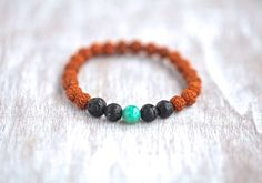 Rudraksha bracelet with natural Lava and by MatahariSoulJewelry