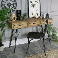 Large Rustic Industrial Three Drawer Desk #industrial #industrialdecor #industrialdesign #rustic #rusticinterior #rusticdecor #home #interiorstyling #interiors #interiordesign #interiordecor #homeware #office #hallway #insta
