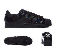 adidas Originals Superstar Patent Trainer   Black / Print   Footasylum
